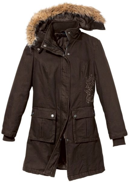 Winter parka with<br>brown embroidery