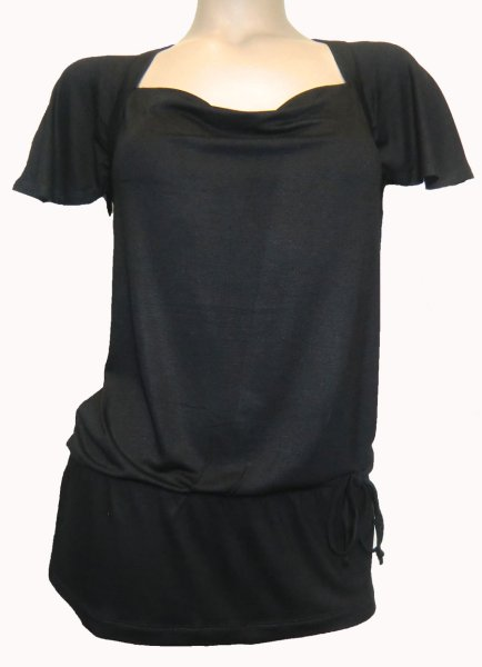 Long Shirt black<br>with bow