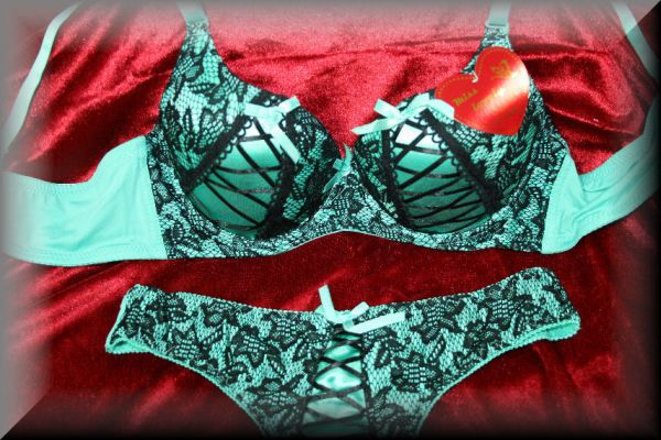 Lingerie Bra Set<br> NOBLE turquoise<br>green flowers wit