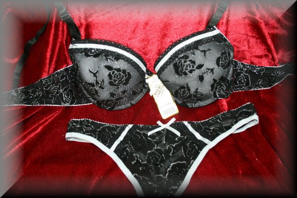 Lingerie sexy bra<br> set with string<br>Gitzerrosen Cup