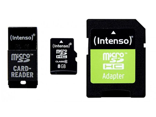 MicroSDHC 8GB<br> Intenso CL10 + USB<br>and SD adapter Bl