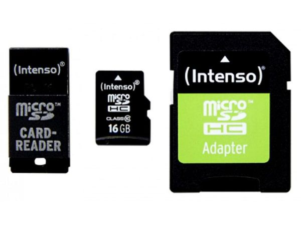 MicroSDHC 16GB<br> Intenso CL10 + USB<br>and SD adapter B
