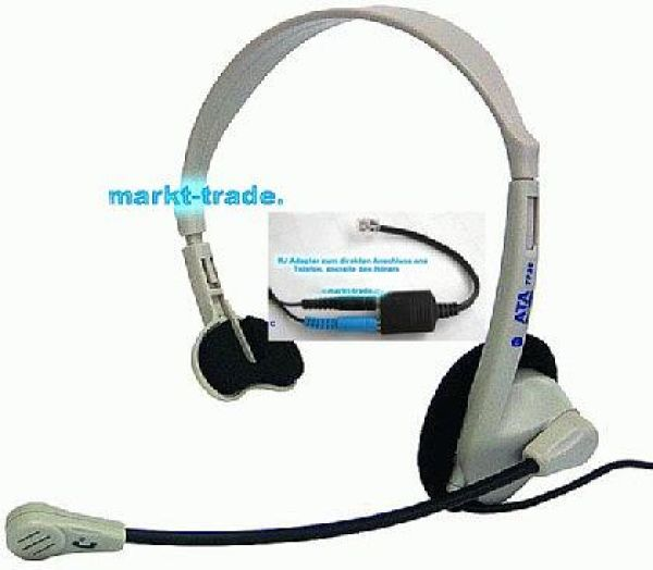 RJ10 Telephone Headset with RJ9 Adapter