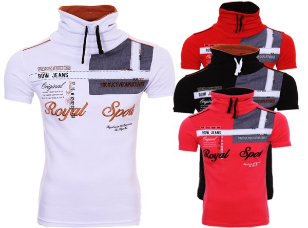 Herren T-Shirt mit<br> Schalkragen Polo<br>T-Shirt