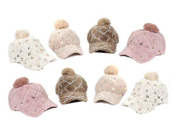 Plush Bobble Hat<br> Cap Caps Colorful<br>Winter Rhinesto