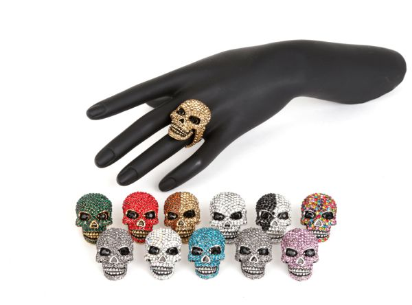 Ladies Rings Rhinestones Ring with skull Stass