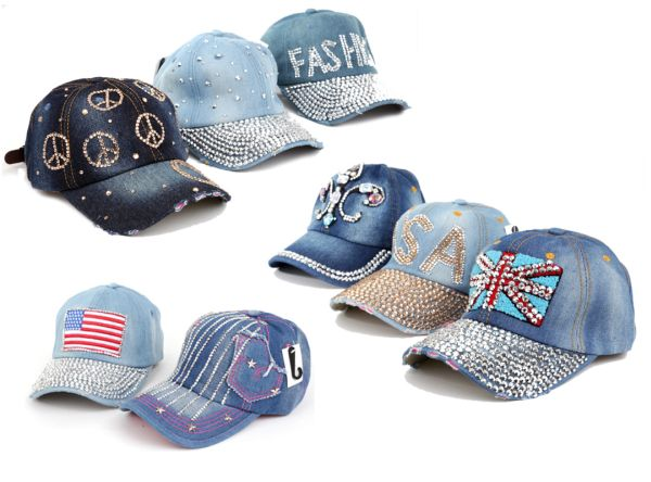 Basecap Jeans Cap<br> Caps Kappe Strass<br>Bling USA