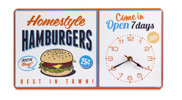 Retro Hamburger Clock