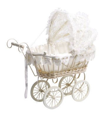 Doll's Pram  White<br>with Lace