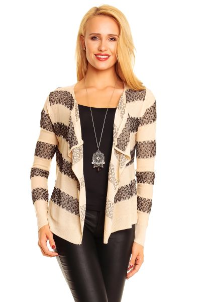 Cardigan Lely Wood<br>L544 beige-black