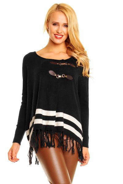Sweater poncho<br> Enza Lea GX13066<br>black and white