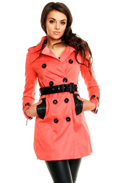 Coat Olive L Verte<br>5A059 salmon-black B