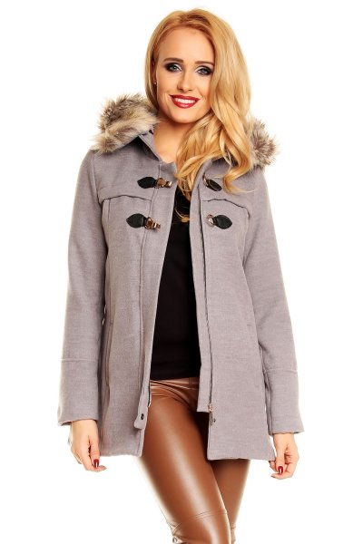 Coat Styled 41031<br> with hood and fur<br>gray