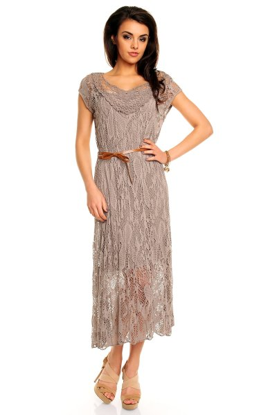 Dress 2 pcs brown<br> with Top Fashion<br>8766