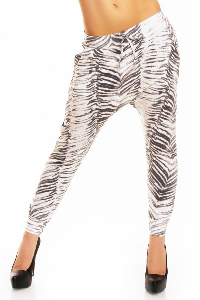JD005 zebra pants<br>white-gray