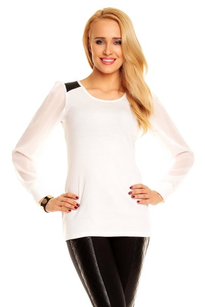 Blouse sweater<br> Best Emilie BE1007<br>white