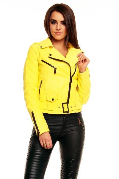 Leather jacket<br> Voyelles 3B329<br>yellow B