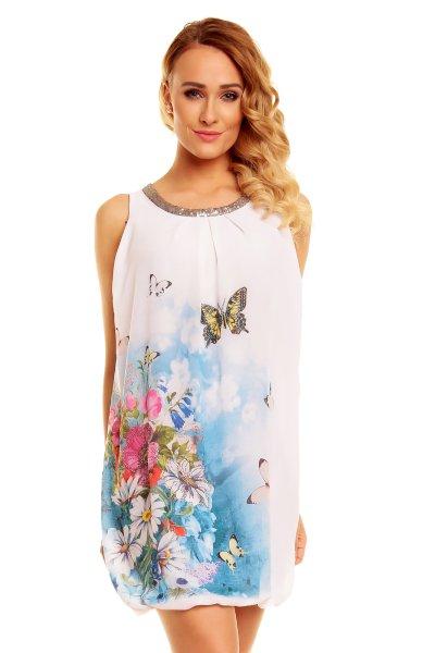 Dress Luna 8861<br>fehér-kék-rózsaszín