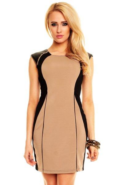 Kleid Evelin 508<br> schwarz-hell braun<br>3 Stück