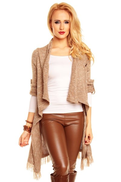 Cardigan A1127<br>light brown-white