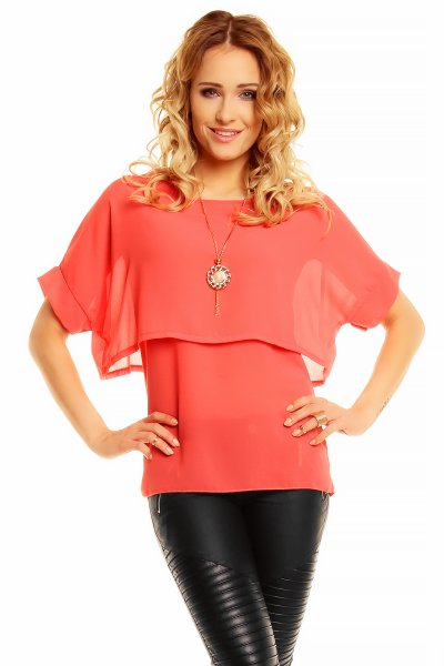 LRX blouse with<br>necklace 3100 salmon