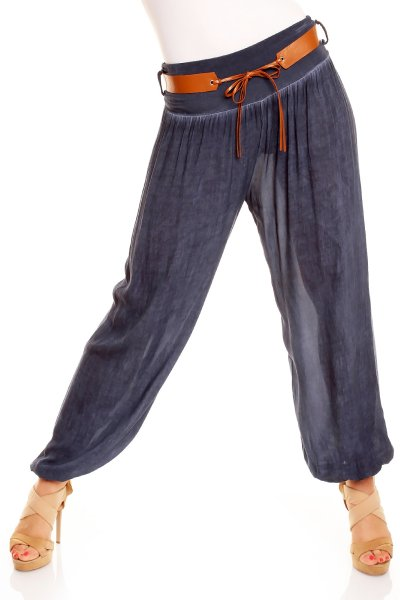 Trousers with Belt<br>1074 dark blue