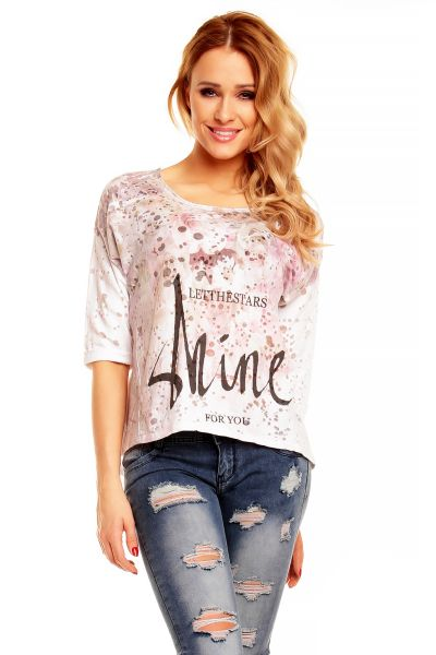 Bluse New<br> Collection 8476<br>weiss-rosa-schwarz