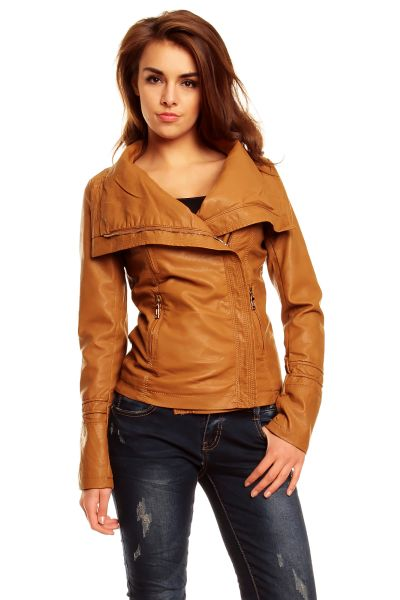 Leather Jacket XL<br>moda F8267 wielbłąda