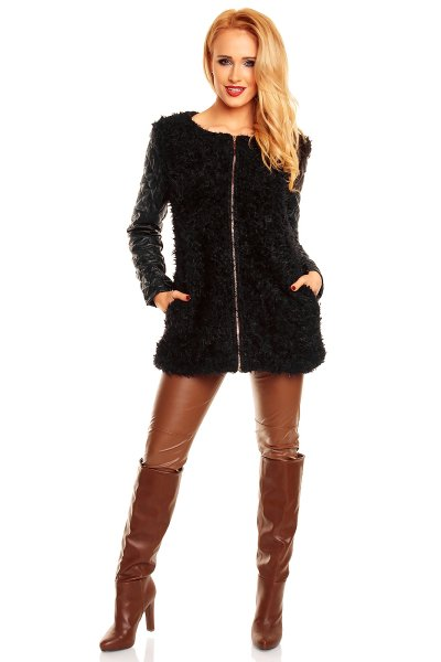 Jacket with fur<br> and leather May Co<br>MC1138 black