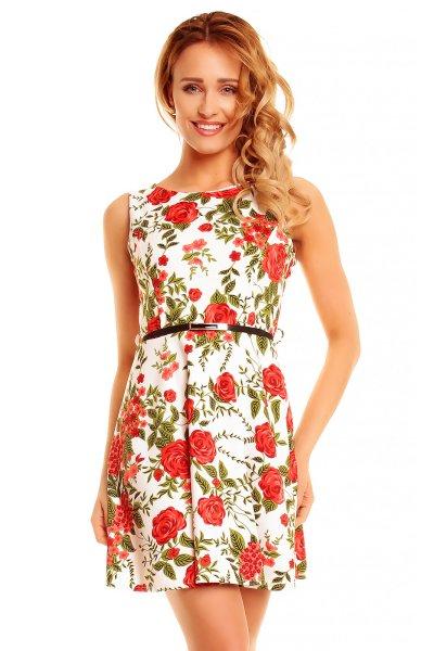 Vestido Flor 4547<br>blanco-rojo-verde