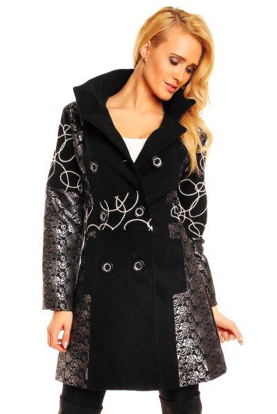 Fashion jacket<br> F7022<br>czarno-srebrno-biały