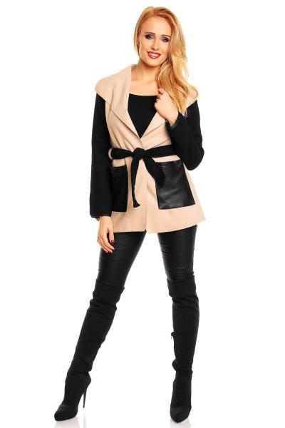 Kurtka sweter Moda<br>0411 beżowo-czarna