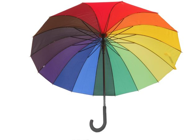 ELEGANT COLORFUL<br> UMBRELLA with a<br>bent HANDLE