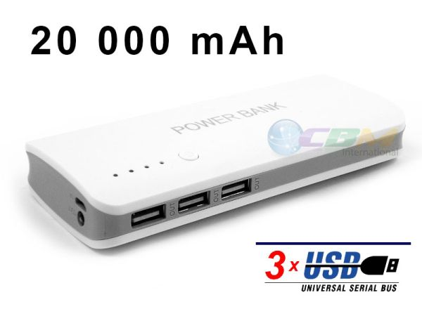 POWER BANK BATTERY<br> CHARGER 3 x USB -<br>20000 mAh
