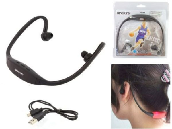 WIRELESS<br> HEADPHONES SPORTS<br>MP3 FM