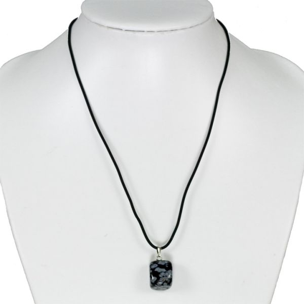 Rubber necklace with stone pendant Snowflake