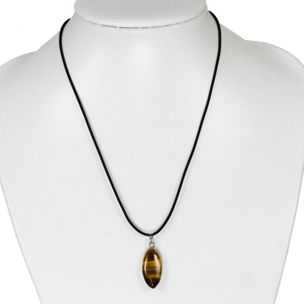 Rubber necklace<br> with stone pendant<br>Eye, Ti