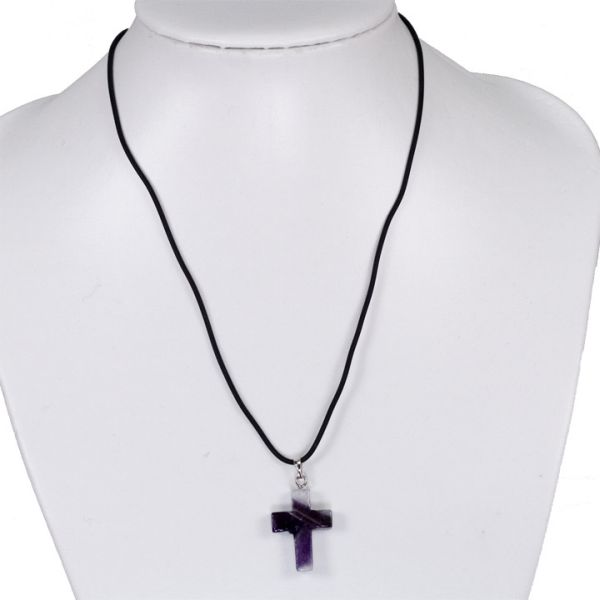 Rubber necklace<br> with stone pendant<br>cross,