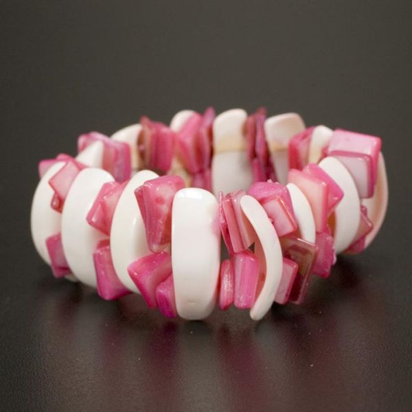 Shell Bracelet,<br>pink and white