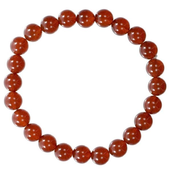 Natural carnelian<br>bead bracelet, 8mm