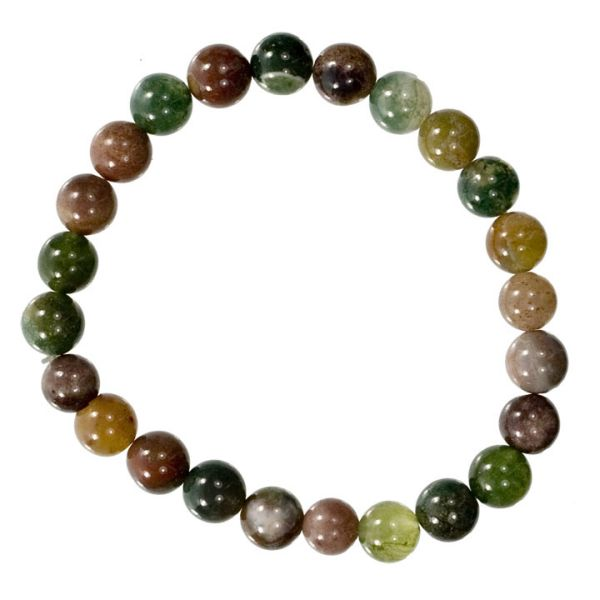 Natural Indian<br> agate beads<br>bracelet, 8mm