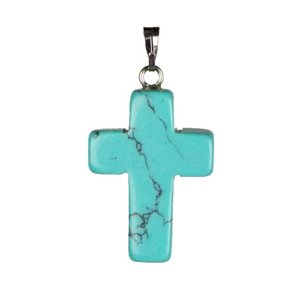 Stone Cross<br> Pendant Natural<br>Synthetic Turquoise