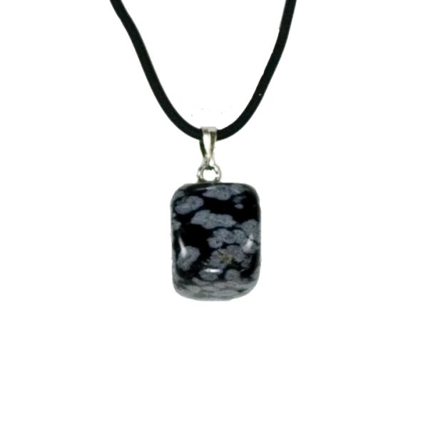 Natural stone<br> pendant, snowflake<br>obsidian