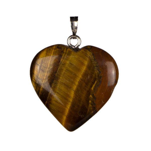 Ciondolo cuore di<br> pietra, 25mm,<br>occhio di tigre