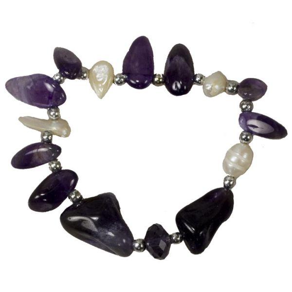 Natural stone<br> bracelet amethyst<br>/ pearl