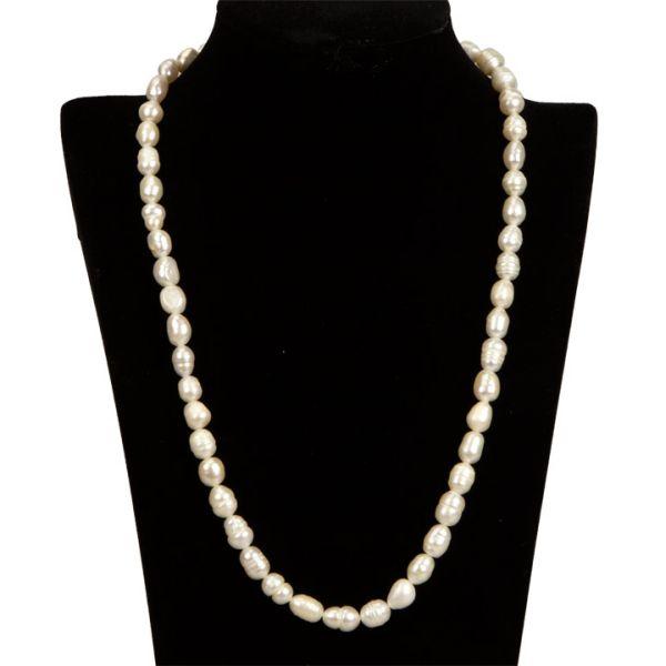 Freshwater Pearl<br> Necklace, AB,<br>Crema, perle di ris