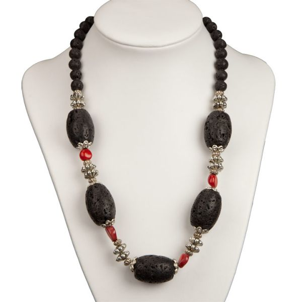 Necklace lava / coral