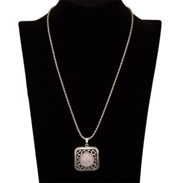 Halskette mit<br>Anhänger, Rosenquarz
