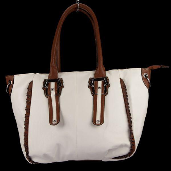 Modische<br> Handtasche<br>Claudia, Weiß/Braun