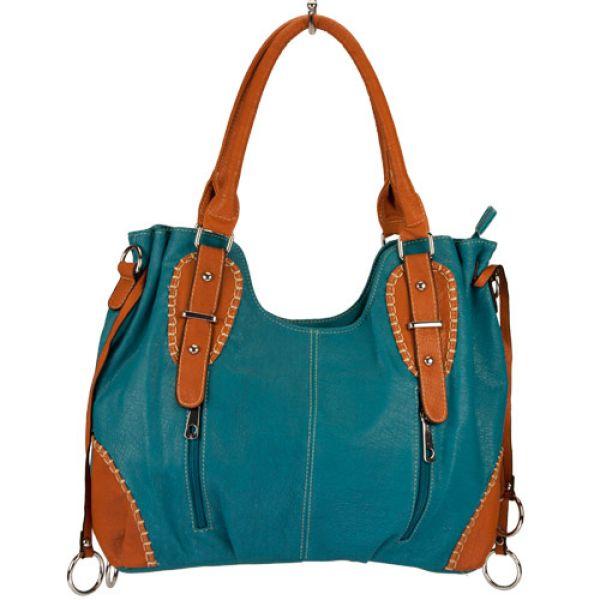 Fashionable<br> handbag Silke,<br>Turquoise / Brown
